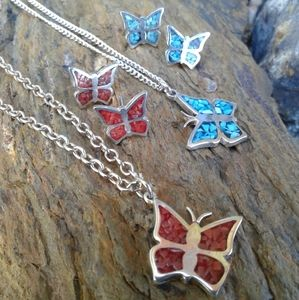Sterling Silver butterfly SET of 2 necklace Sets